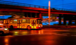 Vilnius transport. Vilnius public transport at night Royalty Free Stock Image
