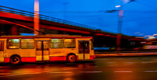Vilnius transport. Vilnius public transport at night Royalty Free Stock Photo