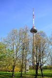 Vilnius TV television tower on spring time Royalty Free Stock Image