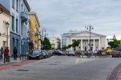 Vilnius, Uliczny Didzioji i widok urząd miasta i urząd miasta Zdjęcie Royalty Free