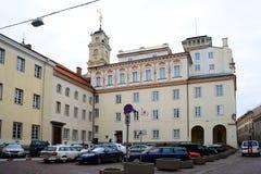Vilnius Universitaire externe mening van presidentiële paleiskant stock afbeelding