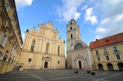 Vilnius university. St John church and main yard Stock Photos