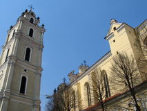 Vilnius University church. Vilnius university St John church and a belfry Royalty Free Stock Photography