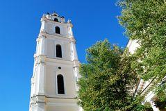 Vilnius university church belfry against blue sky view Stock Photo