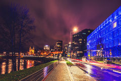 Vilnius, Upes street at night royalty free stock images