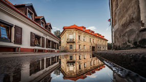 Vilnius Uzupis Republic. One of the most popular sightseeing place in Lithuania. Old Buildings and Reflection on Water. Vilnius Ol. Vilnius Uzupis Republic. One Royalty Free Stock Image