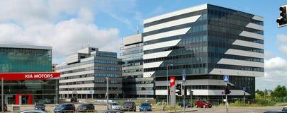 Vilnius vandaag. Nieuwe bureaugebouwen bij pasilaiciai. Stock Afbeelding