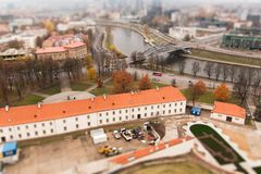 Vilnius vier schuine standverschuiving stock fotografie