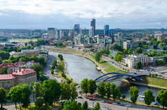 Vilnius, view of river Neris and City high-rise buildings on rig Stock Images