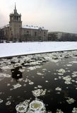 Vilnius Winter. The Neris river with icebergs.  Vilnius, Lithuania Royalty Free Stock Photography