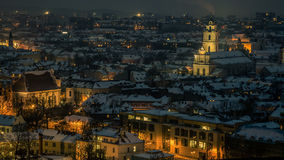Vilnius winter aerial panorama of Old town. Stock Images