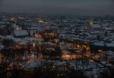 Vilnius winter aerial panorama of Old town. Stock Photography