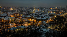 Vilnius winter aerial panorama of Old town. Royalty Free Stock Photos