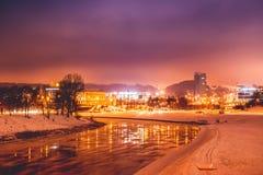 Vilnius winter night time. View from Baltasis tiltas stock photography