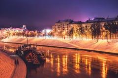 Vilnius winter night time. View from Baltasis tiltas royalty free stock photo