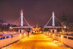 Vilnius winter night time. View of Baltasis tiltas royalty free stock photography