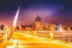 Vilnius winter night time. View of Baltasis tiltas stock photography