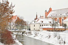 Vilnius. Winter Vilnius old city center, Lithuania Royalty Free Stock Photo