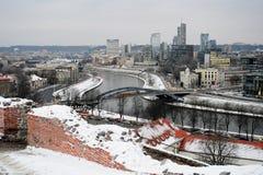 Vilnius Winter Panorama From Gediminas Castle Tower Stock Image