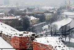 Vilnius Winter Panorama From Gediminas Castle Tower Stock Images
