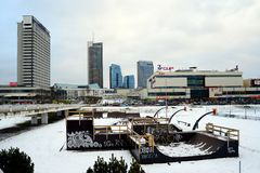 Vilnius winter panorama with skyscrapers on Neris river board Royalty Free Stock Image