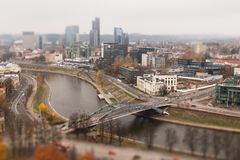 Vilnius zes schuine standverschuiving stock foto's