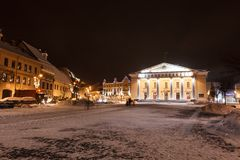 Vilniusstadhuis bij nacht Stock Afbeelding