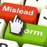 Vilseleda informerar vilseledande datorshower eller informativ rådgivning stock illustrationer