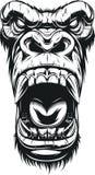 Vilt gorillahuvud vektor illustrationer