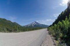 Viluchinsky volcano. Road to Viluchinsky volcano in Kamchatka Stock Image