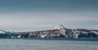 Vilyuchinsky volcano and Avacha bay Royalty Free Stock Photo
