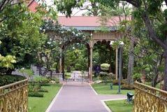 Vimanmek Mansion entrance. Dusit Palace pathway in Bangkok, Thailand, Asia Stock Image