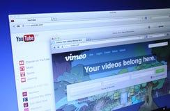Vimeo и вебсайты Youtube стоковая фотография rf