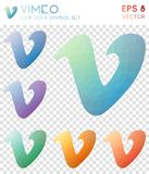 Vimeo geometric polygonal icons. Brilliant mosaic style symbol collection. Curious low poly style. Modern design. Vimeo icons set for infographics or
