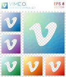 Vimeo geometric polygonal icons. Brilliant mosaic style symbol collection. Dazzling low poly style. Modern design. Vimeo icons set for infographics or