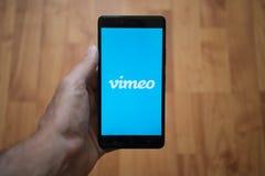 Vimeo logo on smartphone screen Stock Photography