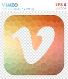 Vimeo squared polygonal symbol. Bizarre mosaic style symbol. flawless low poly style. Modern design. vimeo squared icon for infographics or presentation
