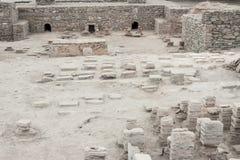 VIMINACIUM, SERBIEN - 1. APRIL: Archäologische Fundstätte von Viminacium R Stockbilder