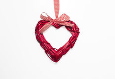 Vimine in forma di cuore del biglietto di S. Valentino Fotografia Stock