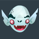 Vimpire character icon. Halloween dracula head icon. Vector illustration usolated on dark background. Royalty Free Stock Photo