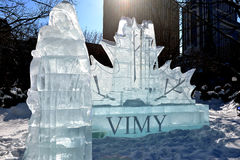 Vimy Ridge Ice Sculpture en Winterlude Foto de archivo libre de regalías