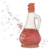 Vinägerflaska med kork och färgstänk av balsamic sås för vinäger Fotografering för Bildbyråer