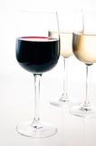 Vin-avsmakning några exponeringsglas av rött och vitt vin Arkivfoto