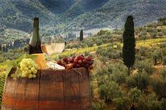 Vin blanc avec le baril sur le vignoble dans le chianti, Toscane, Italie image stock