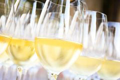 Vin blanc en verres de vin photos libres de droits