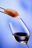 Vin blanc et saumons Photographie stock