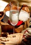 Vin blanc, fromage, arachides Images stock