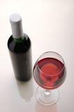 Vin Bouteille de vin et glaces de vin Image libre de droits