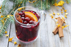 Vin chaud avec de la cannelle et orange, canneberges Image stock