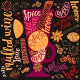 Vin chaud chauffé Illustration décorative de vecteur et brosse manuscrite marquant avec des lettres votre conception illustration de vecteur